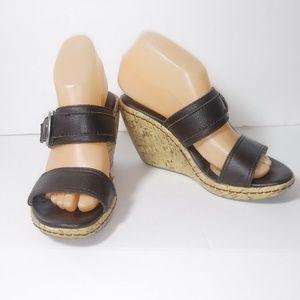 boc Brown Cork Heel Wedges Sandals Sz. 7